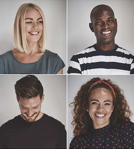 photo collage of people smiling